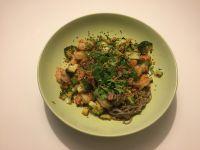Sobas épicées aux crevettes et aux légumes